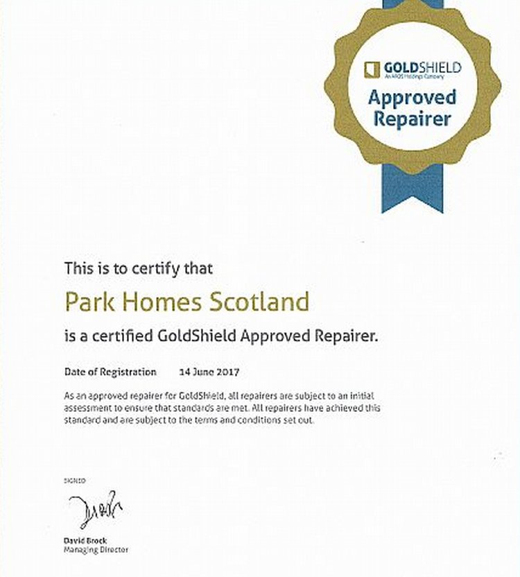 Park Homes Scotland is a GoldShield approved repairer